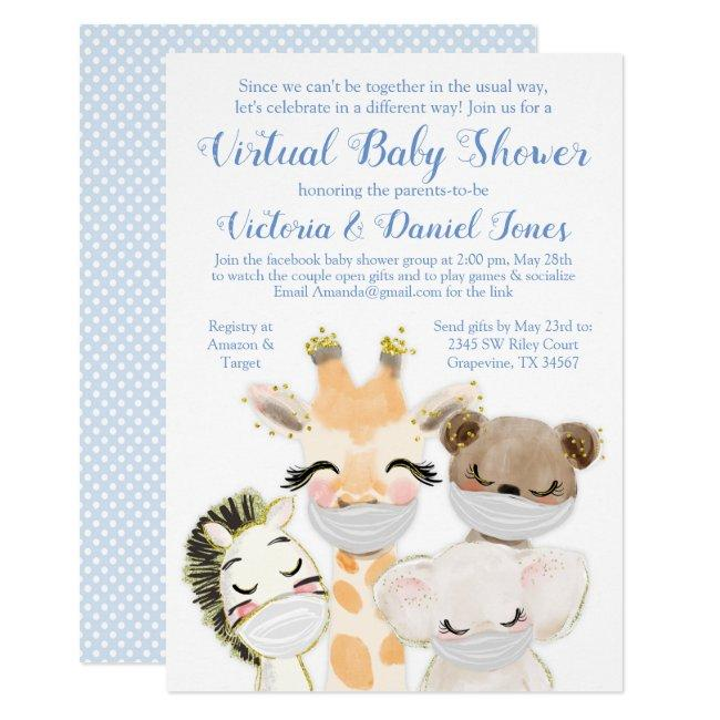 Baby Animals Mask Drive By Baby Shower Invitation