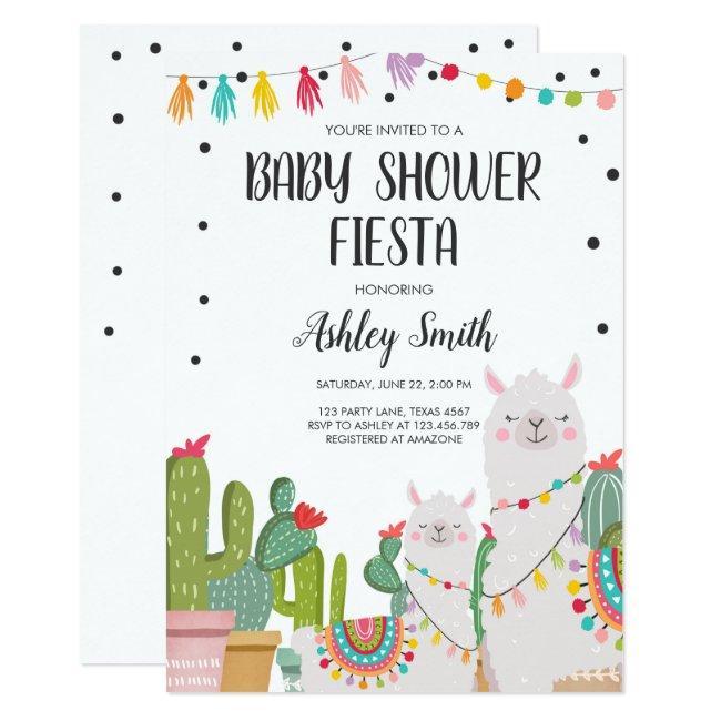 Baby Shower Fiesta Cactus Llama Confetti Mexican Invitation