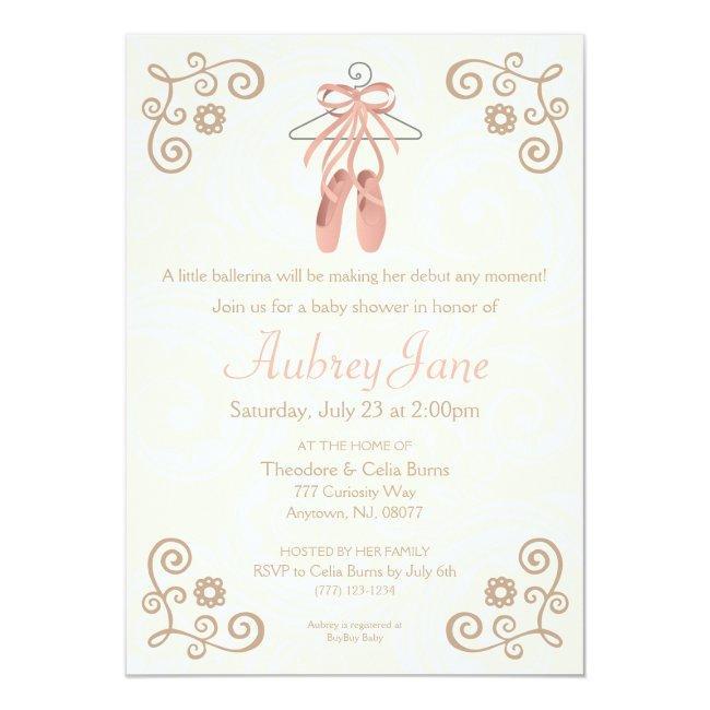 Ballerina Shoes Ballet Baby Girl Shower Invitation