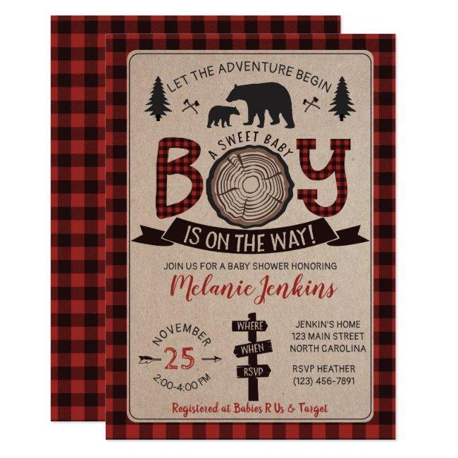 Bear Lumberjack Flannel Boy Baby Shower Invitation