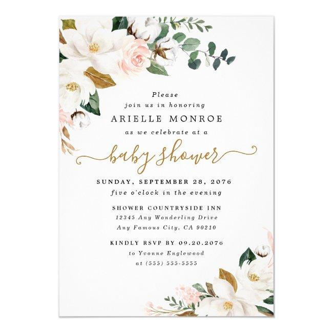 Blush Pink and White Magnolia Floral Baby Shower Invitation