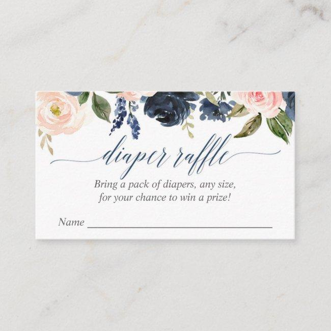 blush pink navy baby shower diaper raffle cards