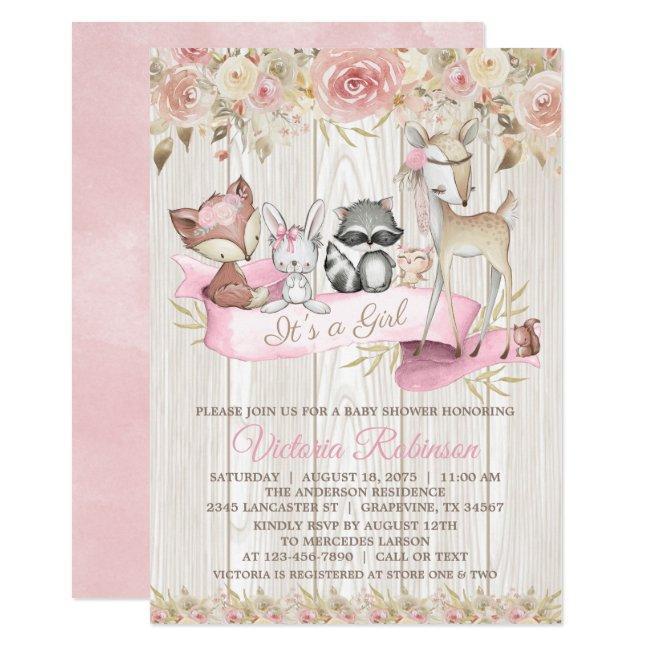 Blush Rose Girl Forest Woodland Animal Baby Shower Invitation