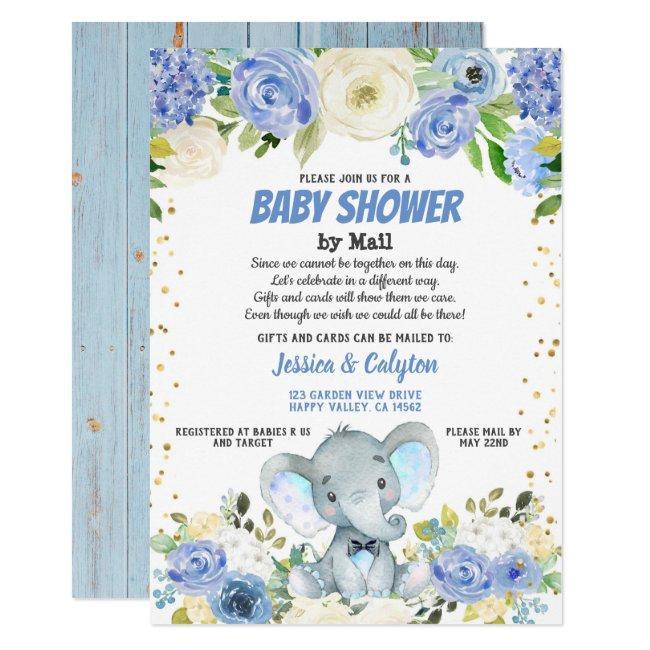 Boy baby shower by mail Blue elephant rose flower Invitation