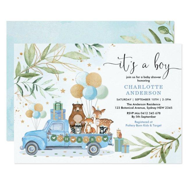 Boy Woodland Animal Blue Gold Greenery Baby Shower Invitation