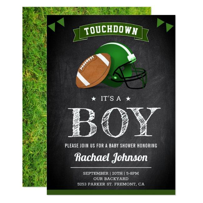 Chalkboard Sports Boy Football Baby Shower Invitation