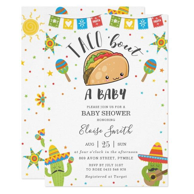Cute Kawaii Taco 'Bout a Baby Fiesta Baby Shower Invitation