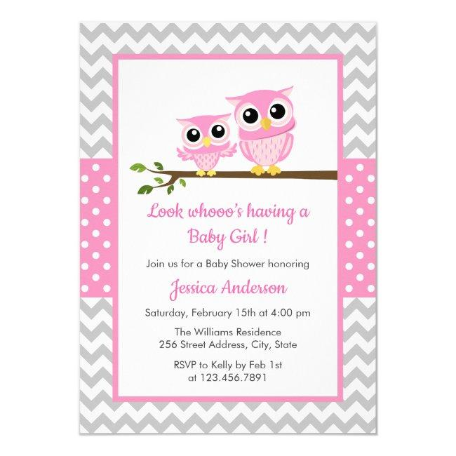 Cute Pink Owl Gray Chevron Girl Baby Shower Invitation