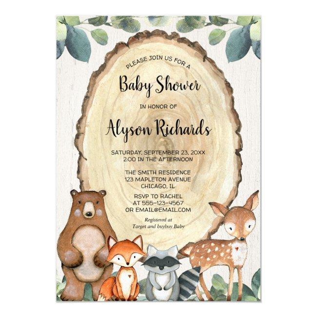Cute woodland gender neutral greenery baby shower invitation