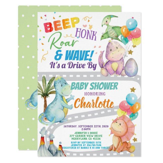 Dinosaur Drive Through Baby Shower Invitation