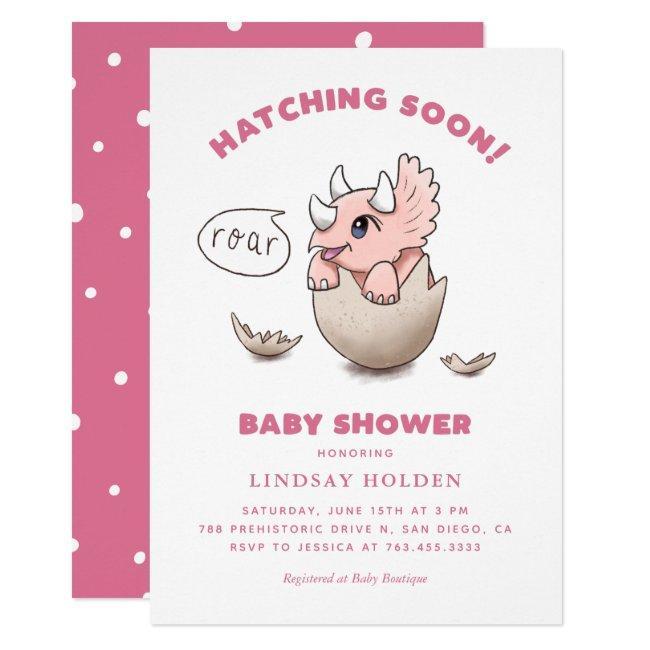 Dinosaur Theme Pink Baby Shower Hatching Soon Invitation