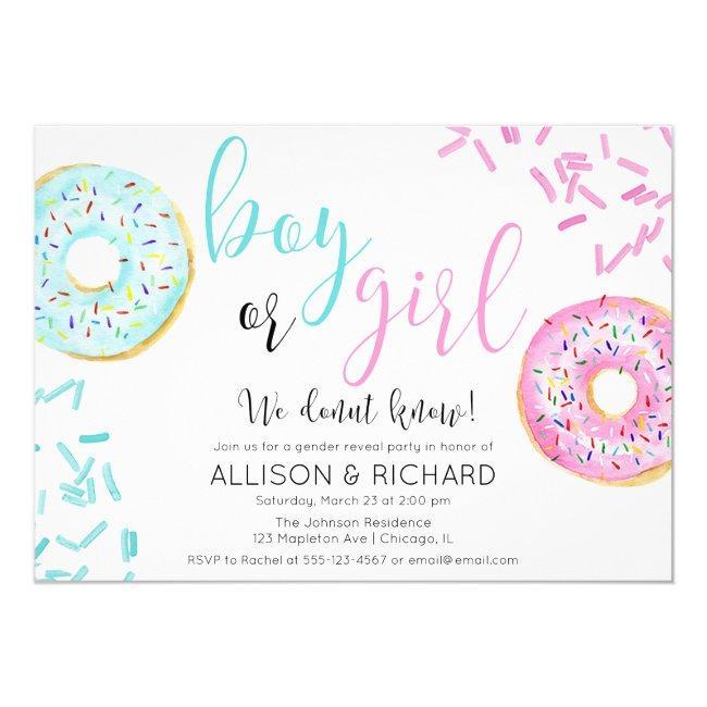 Donut gender reveal party invitation