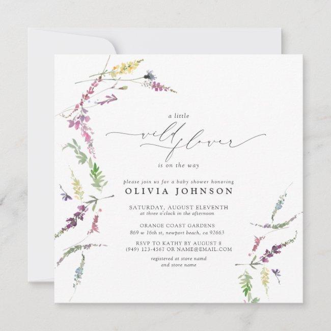 Elegant Little Wildflower Script Girl Baby Shower Invitation