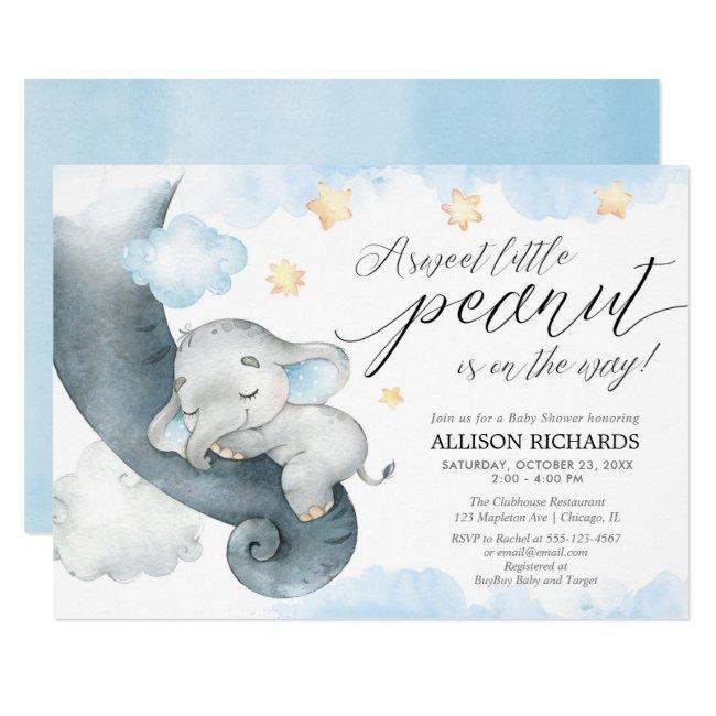 Elephant sweet little peanut cute boy baby shower invitation