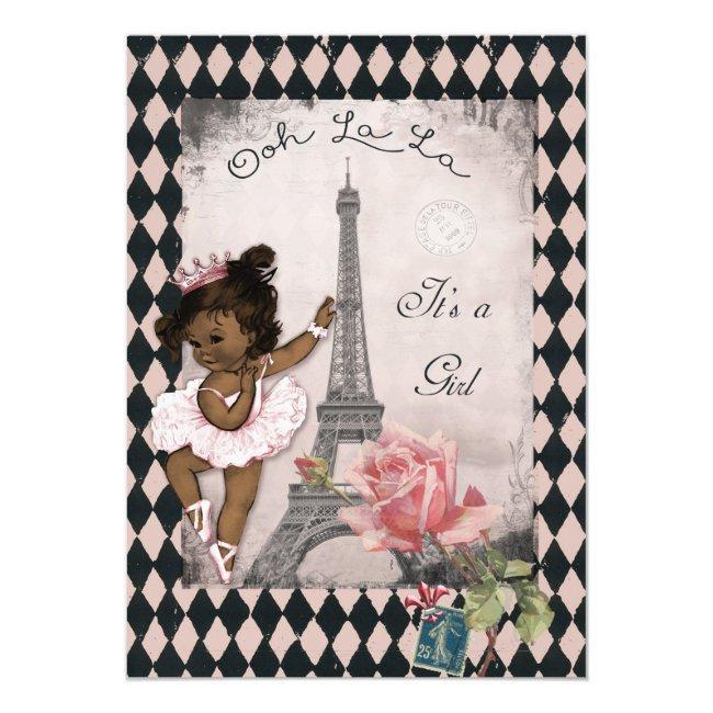 Ethnic Princess Ballerina Eiffel Tower Baby Shower Invitation