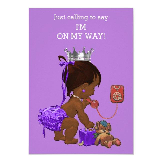 Ethnic Princess on Phone Purple Baby Shower Invitation