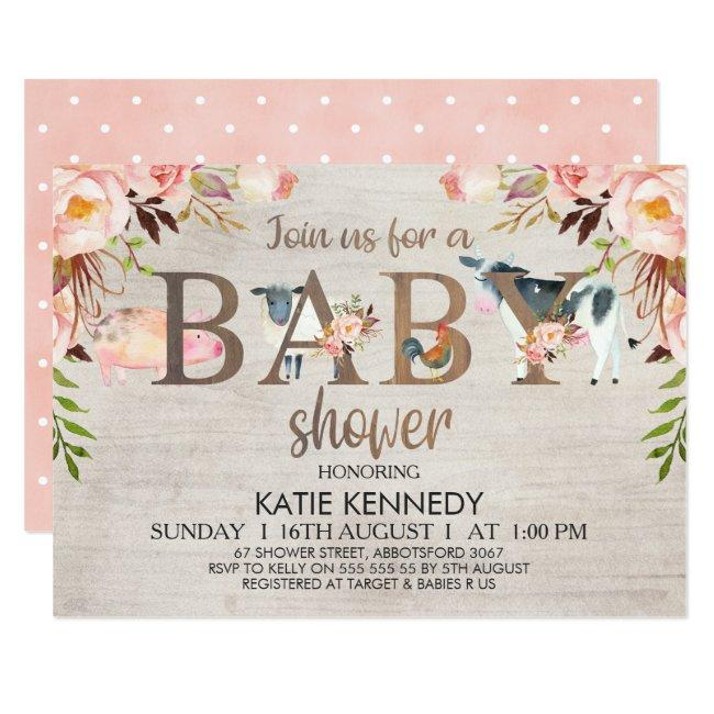 Floral Rustic Farm Animals Baby Shower Invitation