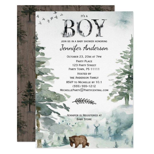 Forest Mountain Boy Country Bear Deer Baby Shower Invitation