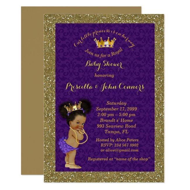 Little Afro Princess Baby Shower Invitation,purple Invitation