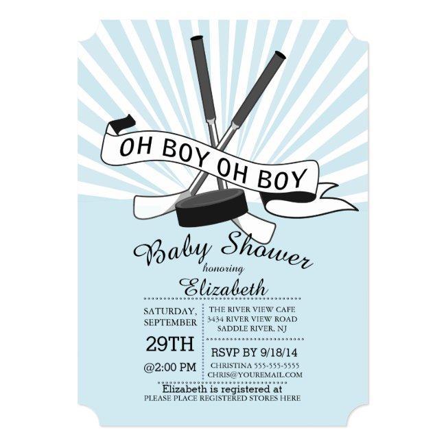 Modern Oh Boy Hockey Boys Baby Shower Invitation