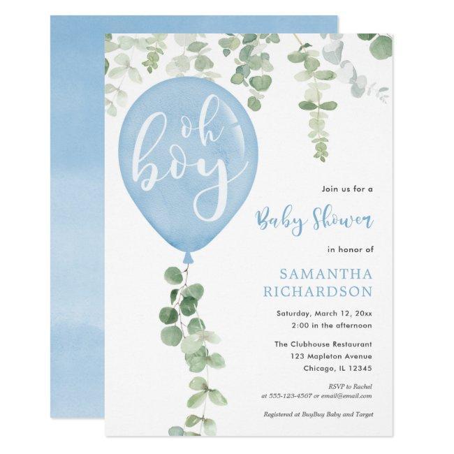 Oh boy modern eucalyptus blue balloons baby shower
