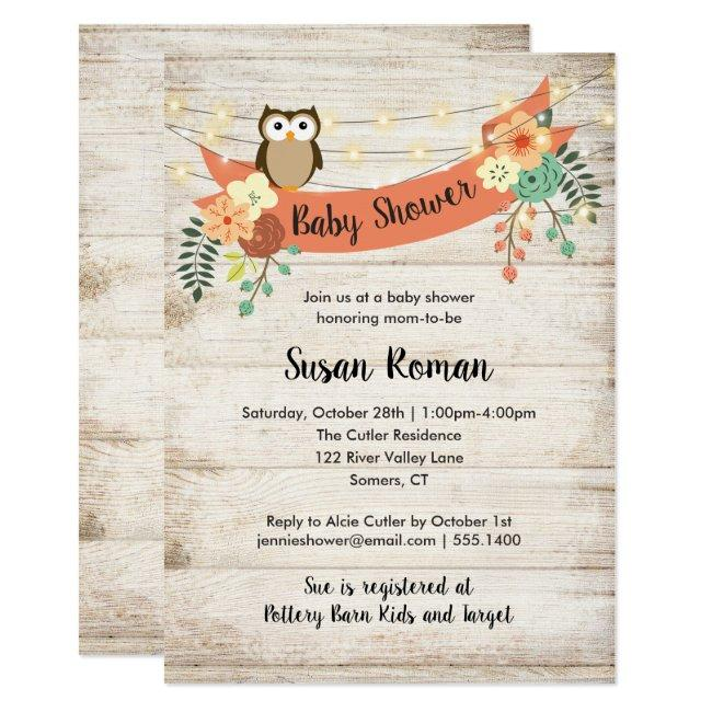 Owl with Flowers and Lights, Fall Baby Shower Invitation