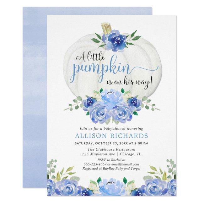 Pumpkin blue greenery floral fall boy baby shower invitation