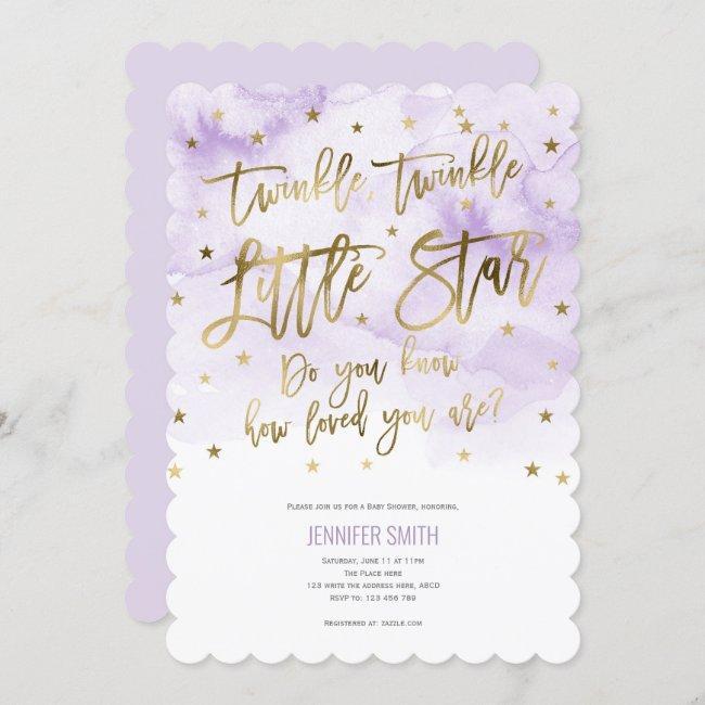 Purple, Twinkle Stars , Watercolor, Baby Girl Invitation