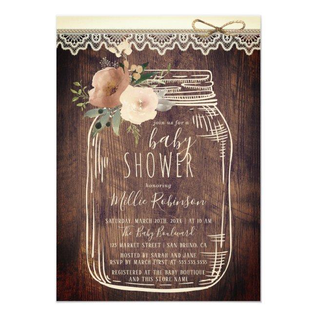 Rustic Lace & Twine | Floral Mason Jar Baby Shower Invitation