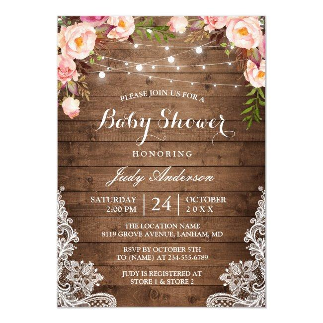 Rustic String Lights Lace Floral Baby Shower Invitation