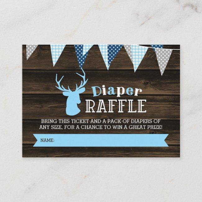 Rustic Wood Blue Deer Boy Diaper Raffle Ticket Enclosure Card