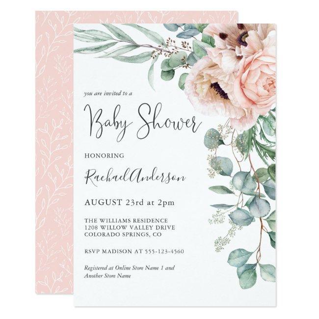Soft Pastel Girl Baby Shower Invitation