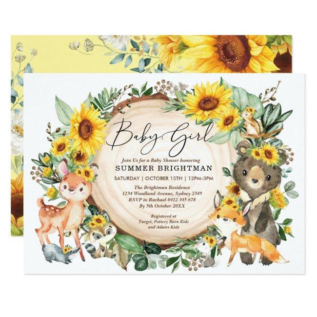Sunflower Greenery Woodland Animals Baby Shower Invitation