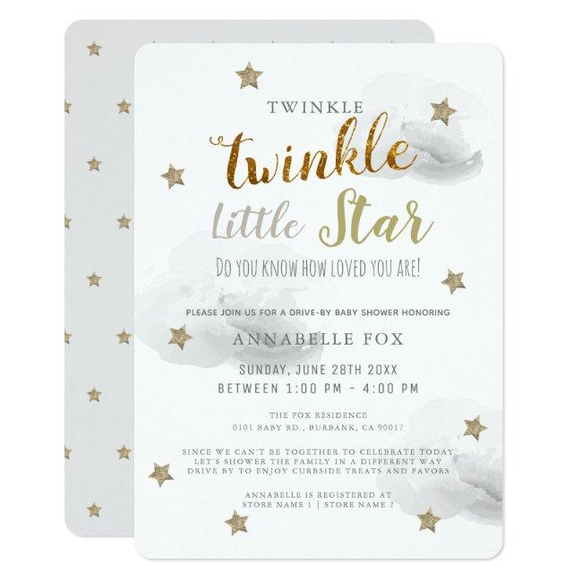 Twinkle Little Star Gray Drive-by Baby Shower Invitation