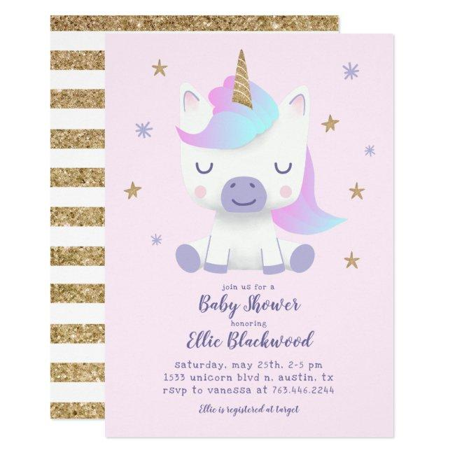 Unicorn Pink Gold Baby Shower Invitation