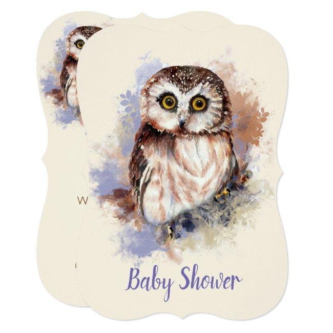 Watercolor Baby Owl Bird Baby Shower Invitation