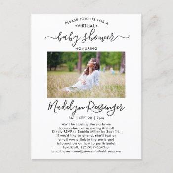 2 Photo Virtual Baby Shower By Mail Modern Script Invitation Postcard