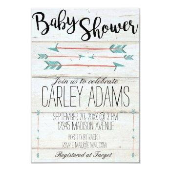 3x5 Rustic Adorned With Arrows Baby Shower Invite