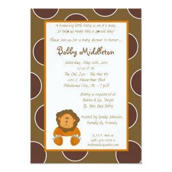 5x7 Baby Lion Zoo Animal  Baby Shower Invitation