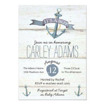 5x7 Rustic Adorned With Anchors | Baby Shower Invitation