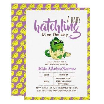 A Baby Hatchling On The Way Dinosaur Cute Purple Invitation