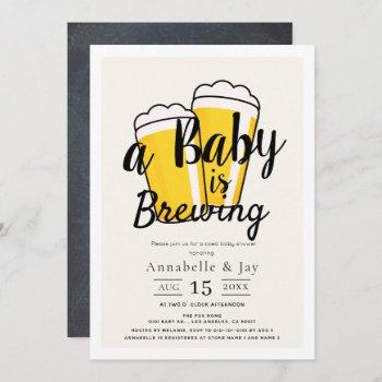 A Baby Is Brewing Beer Co-ed Baby Shower Invitation