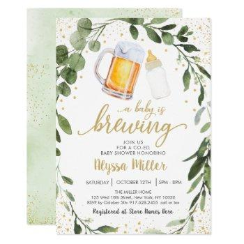 A Baby Is Brewing Greenery Coed Baby Shower Invitation