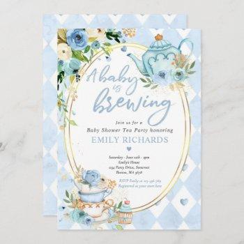 A Baby Is Brewing Tea Party Baby Shower Blue Roses