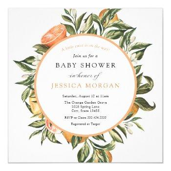 A Cutie Is On The Way Citrus Baby Shower Invitation