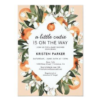 A Little Cutie Is On The Way Orange Baby Shower Invitation