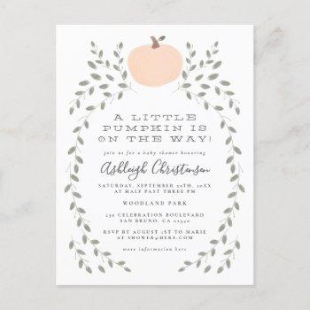 A Little Pumpkin Is On The Way Baby Shower Invitation Postcard