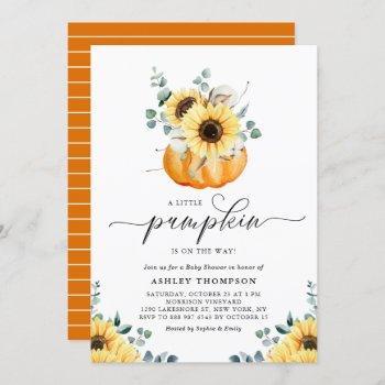 A Little Pumpkin Rustic Sunflower Fall Baby Shower Invitation