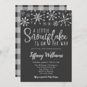 A Little Snowflake Silver Glitter Baby Shower