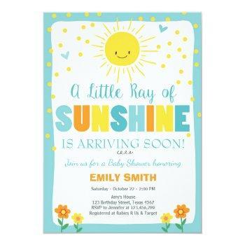 A Ray Of Sunshine Baby Shower Invitation Blue Boy